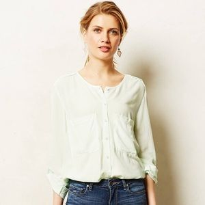 Anthropologie LaVi Paola Chambray Shirt in Mint